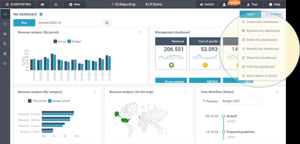 screenshot define dashboard actions