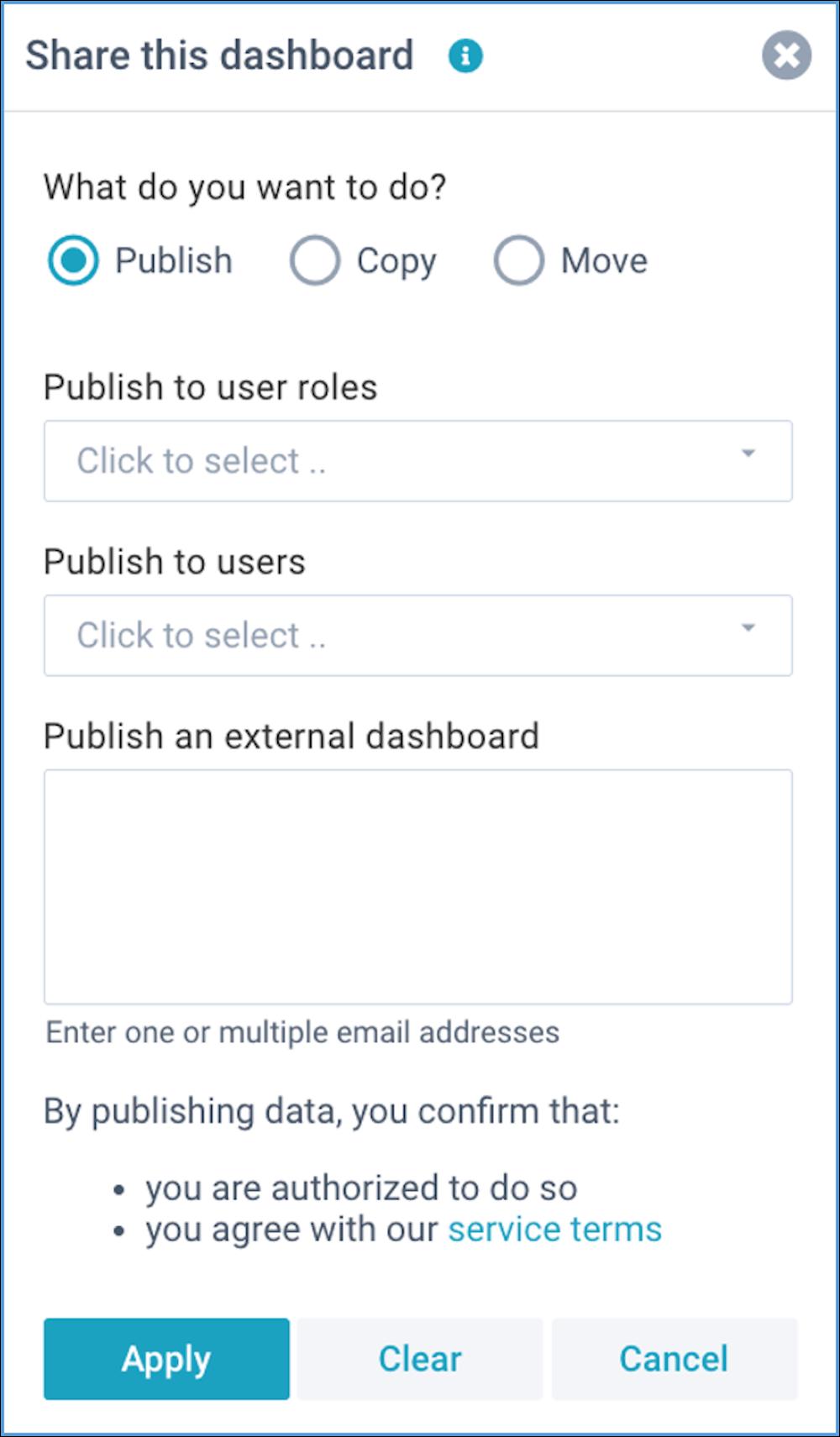 screenshot define dashboard publish