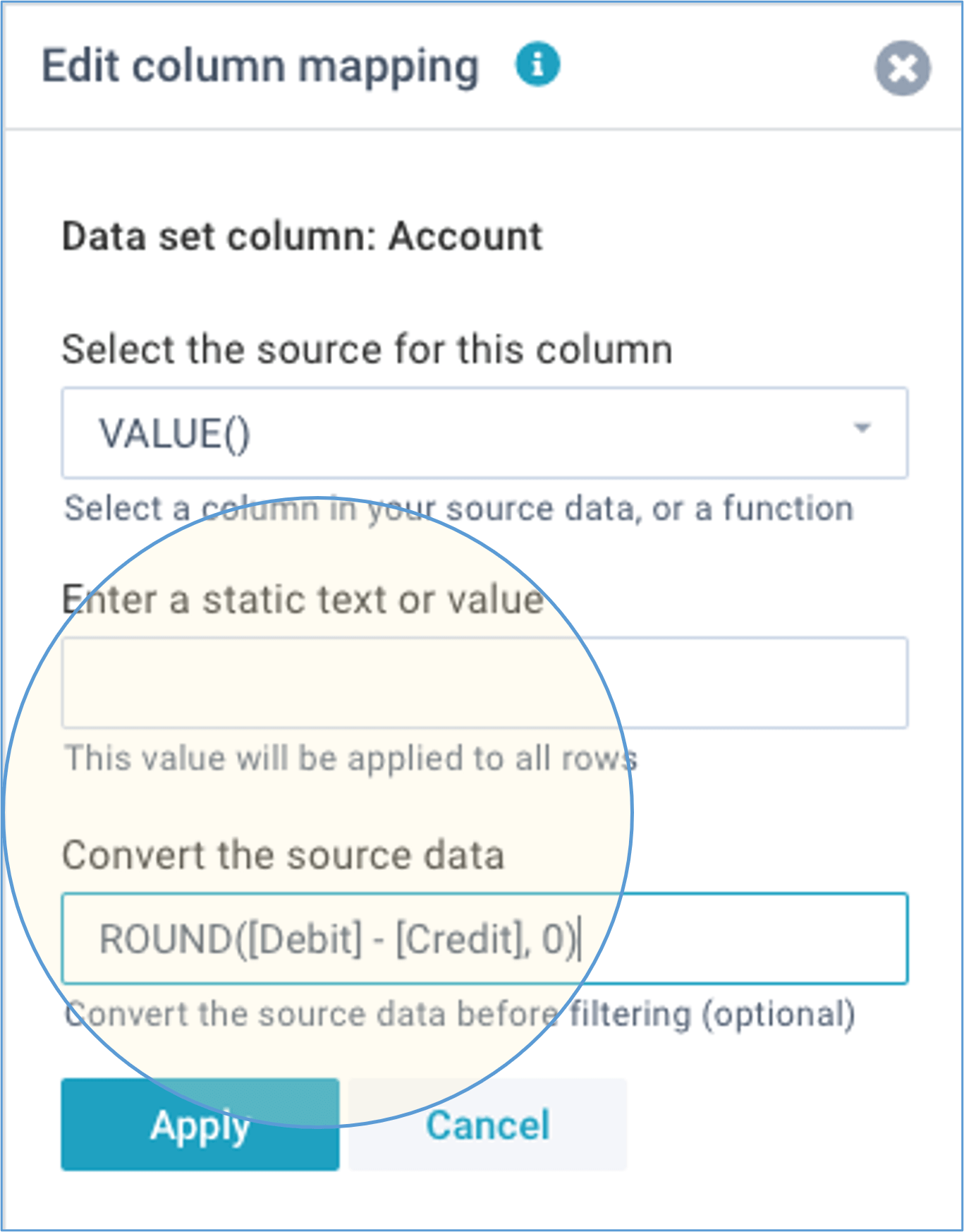 screenshot define imports columns convert