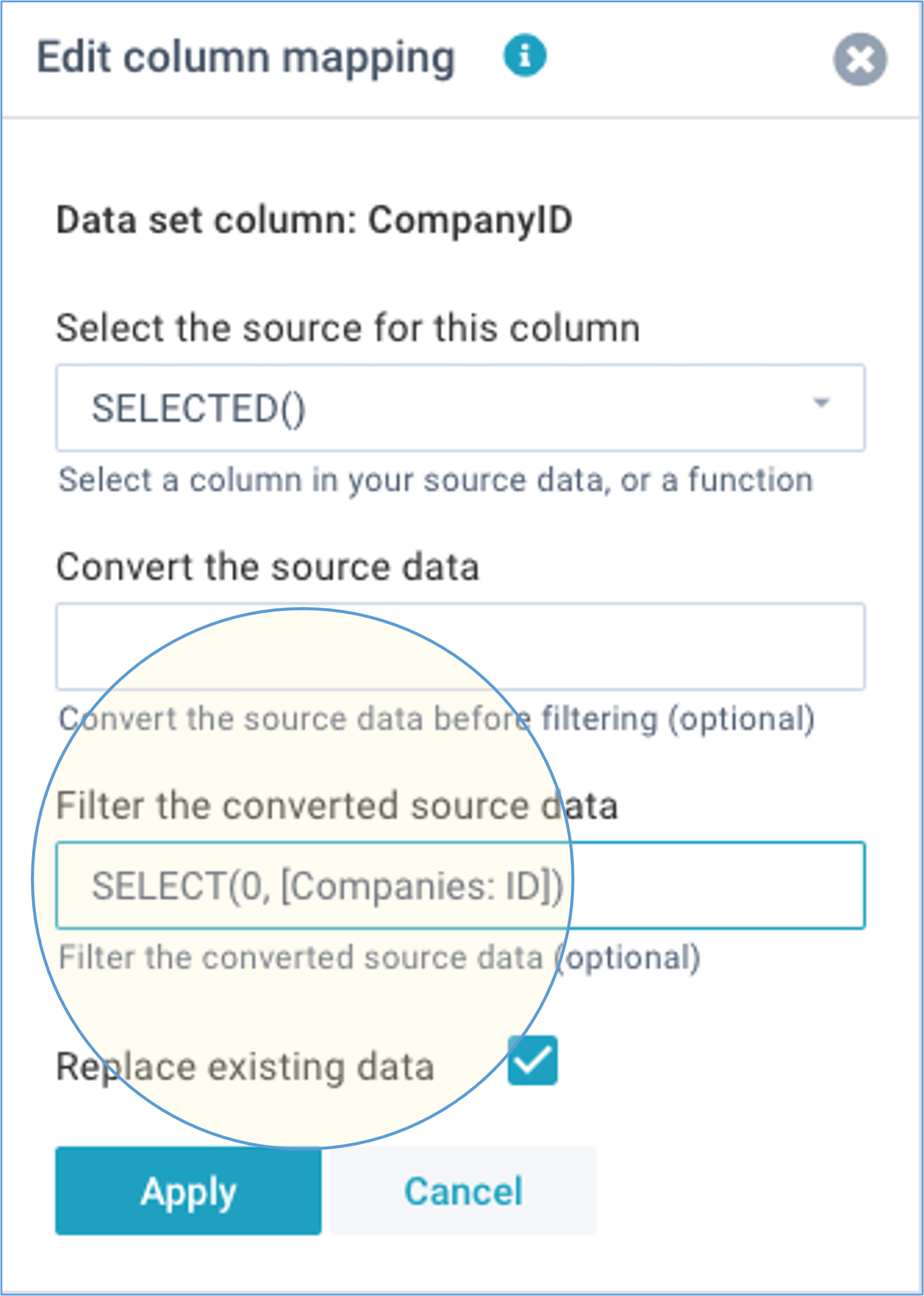 screenshot define import columns select